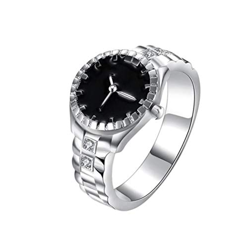 (Ring,Laimeng_World Women Mens Dial Quartz Analog Watch Creative Steel Cool Alloy Finger Ring (10, Silver))