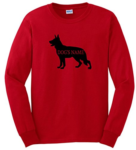 Personalized Dog Collar Personalized German Shepherd Add Dog's Name Custom Long Sleeve T-Shirt Large Red (T-shirts Personalized Dog)