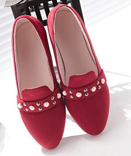 Rouge Ballerines Plat Basse Chic Rivets Femme Talon Aisun wYaHzq0n