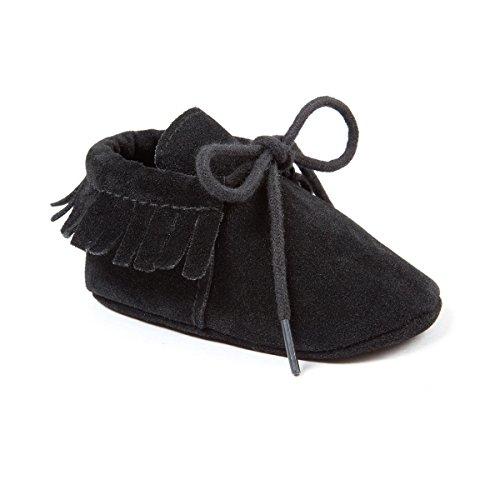 Kuner Toddler Baby Boys Girls Moccasins Tassels Soft Sole Non-Slip First Walkers Shoes (12cm(6-12months), Black) - Black Boys Moccasin