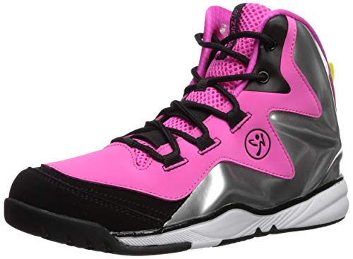 High Top Athletic Shoes - Zumba Women's Energy Boom High Top Athletic Shoes Dance Training Workout Sneakers, Pink/Silver, 9 Regular US