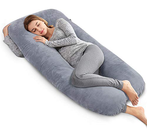 AngQi 60 Full Body Pregnancy Pillow, U Shaped Maternity Pillow for Pregnant Women and Back Pain, with Body Pillow Velvet Cover, Gray
