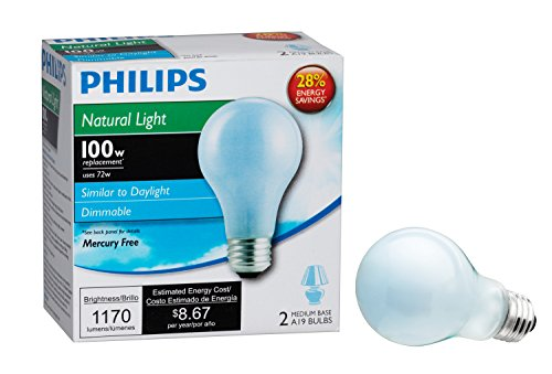 Philips 226993 72-Watt A19 Halogen Light Bulb, Natural Light, Dimmable, 2-Pack