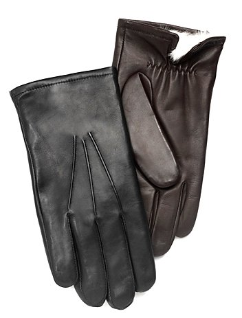 Men's Leather Gloves w/RABBIT FUR lining by GRANDOE, Large, Black