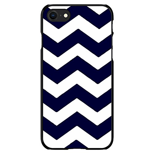 DistinctInk Case for iPhone 7/8 (NOT Plus) - Custom Ultra Slim Thin Hard Black Plastic Cover - Navy Blue White Chevron Stripes - Chevron Stripes Pattern