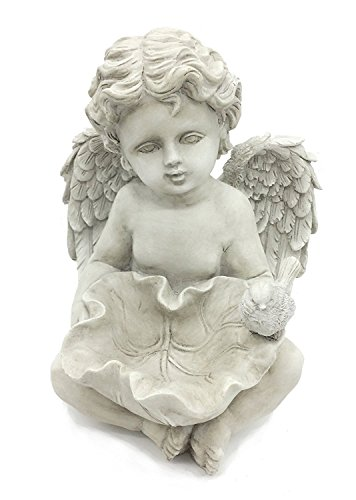 - FICITI G120457 Angel Cherub Bird Feeder Garden Statue, 10-Inch
