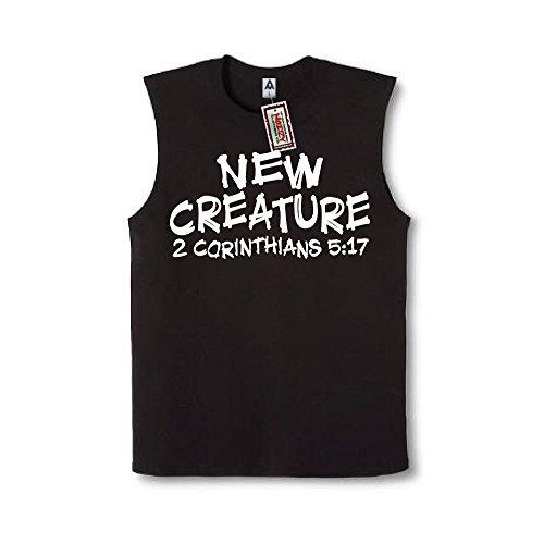 New Creature 2 Corinthians 5:17 Christian Sleeveless Shirt Religious Black Muscle Tee 2XL XXL