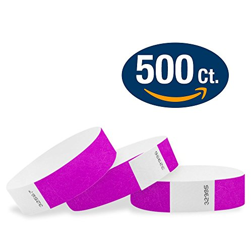 """WristCo Pantone Purple 3/4"""" Tyvek Wristbands - 500 Pack Paper Wristbands For Events"""