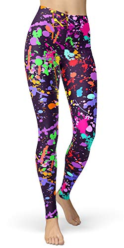 Women's Artistic Splash Printed Brushed Buttery Soft Leggings Regular and Plus (Plus Size(L-2XL/Size 12-24), Color Splash) (Blue Jean Skirts In Bright Colors)