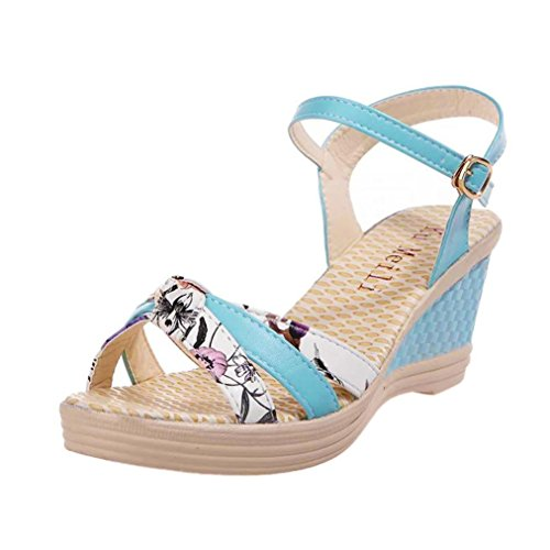 PENATE Women's Fashion Heeled Sandals Summer Nature Floral High Platform Open Toe Casual Soft Wedge Shoes (5.5 B(M) US, Blue)