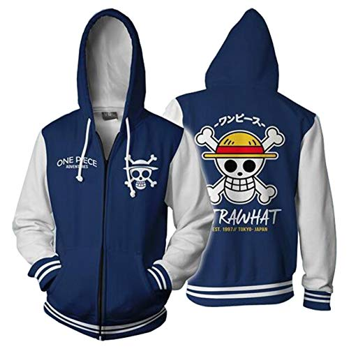 Aries Tuttle One Piece Anime Monkey D. Luffy Trafalgar Law Cosplay Costume Hoodies Men's Jackets Sweatershirt Tops Coat Blue]()