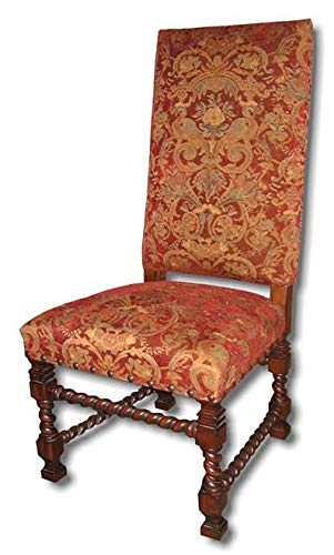 Carved Twist Barley - EuroLuxHome Dining Chair Tuscan Tall Square Back Red Fabric Walnut Rope/Barley Twist