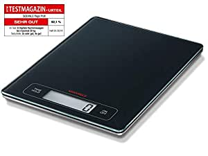 Soehnle Page Profi Kitchen Scale, Digital Food Scale with Large Weighing Area, acccurate Gram Scale for Measuring up to 15 kg, Electronic weigh Scale with Sensor Touch (Colour: Black)