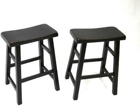 Set of 2 Heavy Duty Saddle Seat Bar Stools Counter Stools – 24 Black