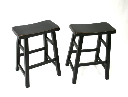 Set of 2 Heavy Duty Saddle Seat Bar Stools Counter Stools - 24