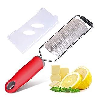 FirmiBang Cheese Zester & Grater, Lemon, Ginger, Garlic, Nutmeg, Vegetables, Fruits - Razor-sharp Stainless Steel Blade Protective Cover, Dishwasher Safe (Red)