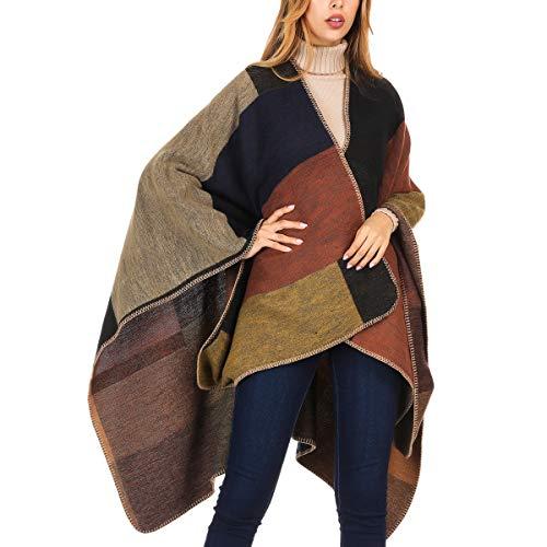 - DoFiyeng Women Poncho Shawl Poncho Cape Cardigan Open Front Elegant Cape Wrap Shawl Wrap(Orange plaid)