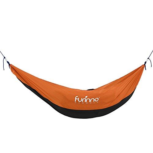Furinno FH16097BK/OR Portable Heavy Duty Lightweight Hammock, Black/Orange