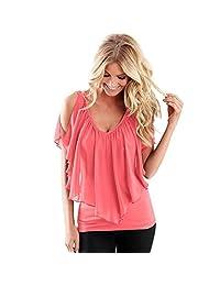 Tenworld Women Summer Irregular Chiffon Blouse Off Shoulder T Shirt Tops