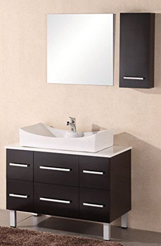 Stone Vessel Sink Set - Design Element Paris Single Vessel Sink Vanity Set with Composite White Stone Countertop, 36-Inch