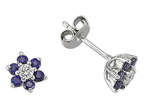 Boucles d'Oreilles Saphirs et Diamants-Femme- or Blanc 217E0030