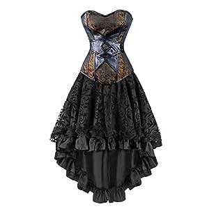 Kimring Women's 2 Pcs Vintage Gothic Victorian Brocade Overbust Corset Skirt Set