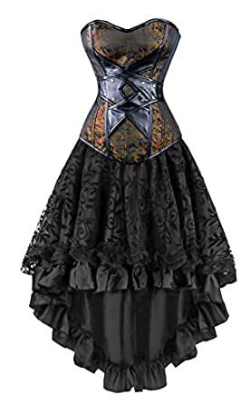 Kimring Women's 2 Pcs Vintage Gothic Victorian Brocade Embroidery Overbust Corset with Lace Dancing Skirt Set Brown/Black Small