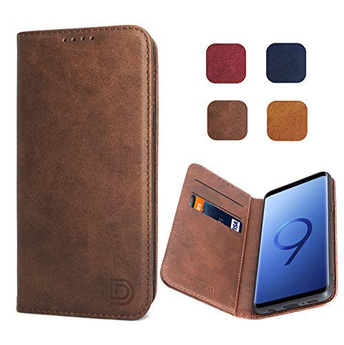 Samsung Galaxy S9 Case, Samsung Galaxy S9 Flip Case in Dark Brown for Men, Dekii [Strong Magnetic No Buckle] Leather Wallet Case with Credit Card Slots for Samsung Galaxy S9