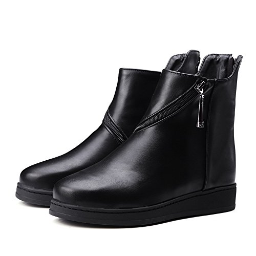 Material Women's Round Soft Low Toe AmoonyFashion top Heels Closed Black Boots Solid Low 0Cgwdqd