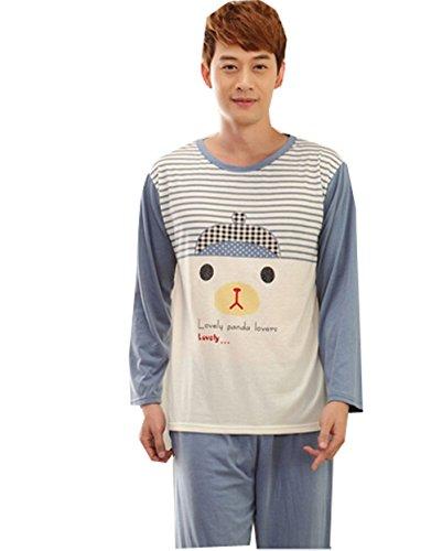 KM Couple Pure Cotton Pyjamas Long Sleeve Nightwear Set #4 Hat (Female M)