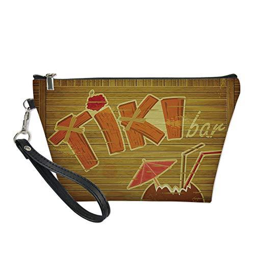 - Tiki Bar Decor Useful Cosmetic Bag,Wooden Planks Wall with Styled Tiki Bar Text Cocktail Hibiscus Aloha for Travel
