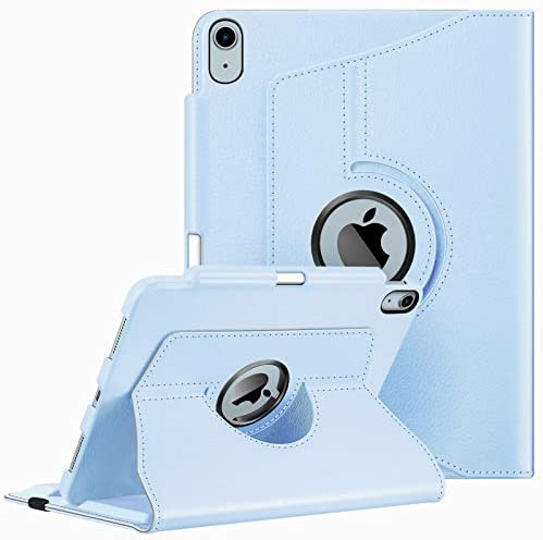 Fintie Case for iPad Air 4 10.9 Inch 2020 with Pencil Holder [Support 2nd Gen Pencil Charging] – 360 Degree Rotating Stand Cover with Auto Sleep/Wake for iPad Air 4th Generation, Sky Blue