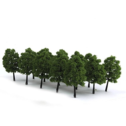 WINOMO 20pcs Model Trees Miniature Landscape Scenery Train Railways Trees Scale 1:100 Dark Green (Model Trains Scenery)