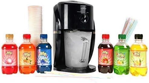 Image of Lickleys Cono de Nieve Hielo Afeitadora/Granizado Fabricante Hace Hogar Hielo Bebidas, Presentado con Sazonado Siropes - Black Machine with Cocktail 6 Pack