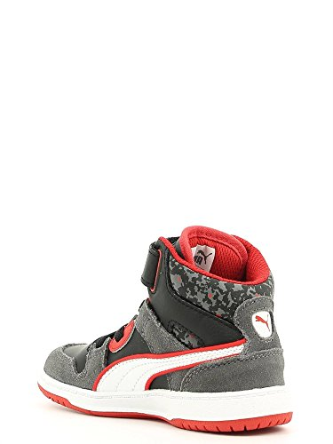 Puma KDS REBOUND STREET S L MP Scarpe Moda Sneakers Pelle Nero Rosso per Ragazzo Bambini