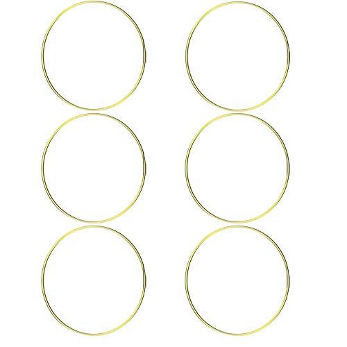 (HOHIYA Metal Ring Macrame Hoop Dream Catcher Craft Round Brass Plated 6inch(Gold,Pack of 6))