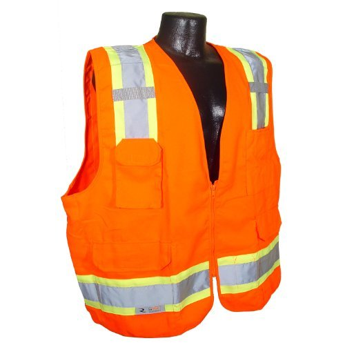Radians SV62-2ZOT-L Class 2 Two Tone Surveyor Safety Vests, Solid Twill Orange, Large by Radians by Radians (Image #1)