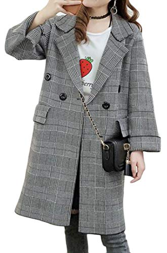 Cromoncent Womens Plaid Slit Loose Lapel Business Outdoor Cardigan Sweaters Coats Light Gray One Size by Cromoncent