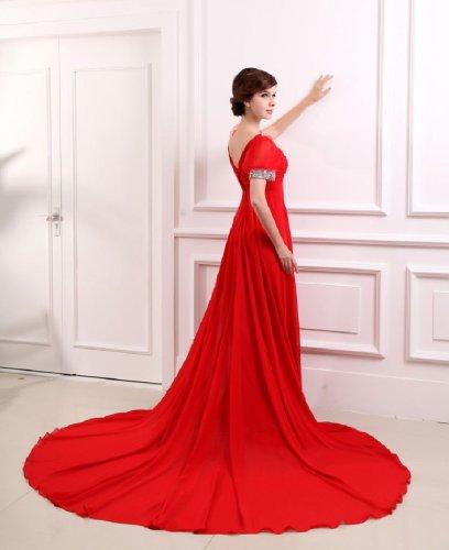 V Schleppe Seqins Gericht Ballkleid Emily Kapelle Abendkleid Beauty lange Neck Rot Hochzeit Women's EFfBTq0
