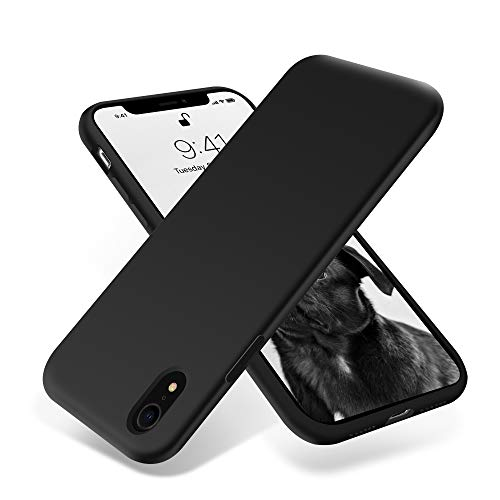 for iPhone XR Case, OTOFLY [Silky and Soft Touch Series] Premium Soft Silicone Rubber Full-Body Protective Bumper Case Compatible with Apple iPhone XR - Black