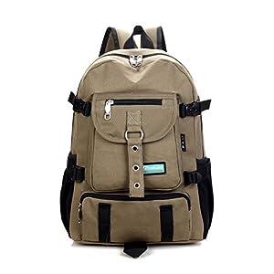 New Fashion arcuate shoulder strap zipper solid casual bag male backpack school bag canvas bag designer backpacks for men (Light Green Color)