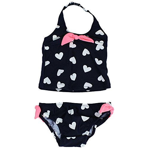 Price comparison product image Osh KoshToddler Girls Heart Print With Ties Two Piece Tankini, Navy, 4T