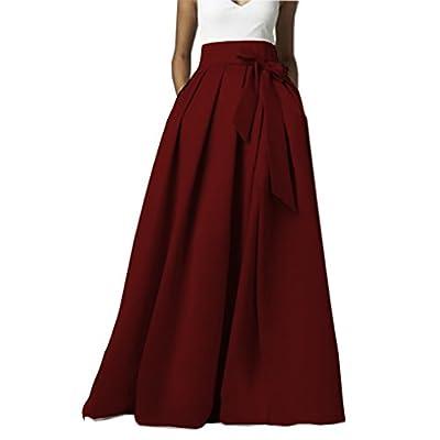 Omelas Womens Long Floor Length Pleated Skirt High Waisted Maxi A-line Party Evening Dress