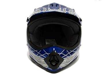 Amazon.com: TMS Youth Kids Negro/Azul Punk Dirt Bike ATV Motocross Casco MX + anteojos + Guantes, Azul: Automotive