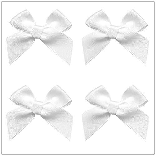 50pcs Mini Satin Ribbon Bows Fabric Ribbon Flowers 42mm x 39mm Appliques DIY Craft for Sewing, Scrapbooking, Wedding, Christmas Gift Warpping (White)