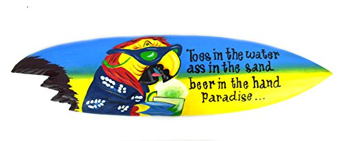 Parrot Head Toes in the Water As in the Sand Tiki Bar Sign Surfboard Surf Board with Shark Bite ()
