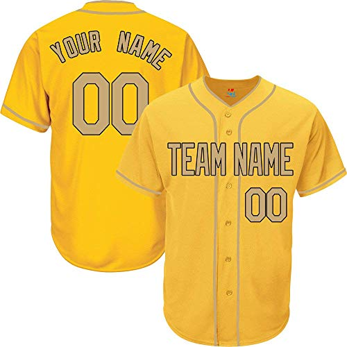 Yellow Custom Baseball Jersey for Men Women Youth Button Down Embroidered Team Player Name & Numbers S-5XL Gold Black