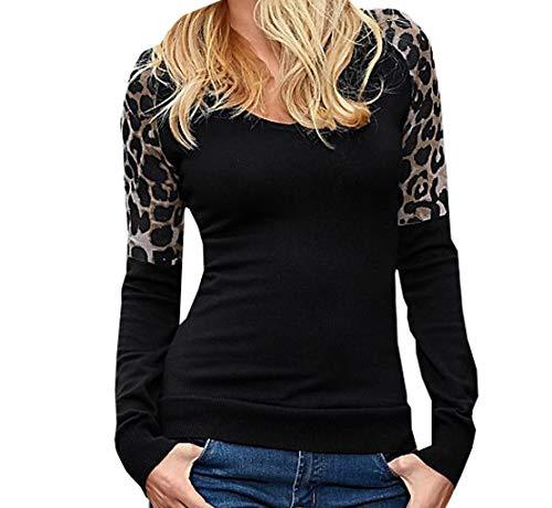 Shirts Longues pissure Noir Printemps Tops Casual Jumpers T Pulls Hauts Sweat Manches Pullover Imprim Fashion Femmes JackenLOVE et Blouse Lopard Shirts Automne Rond Slim Col 7xWqv8