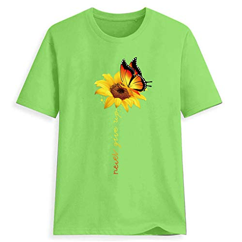 QueenMM Women's Short Sleeve Never Give Up Printed Summer Casual Tops O-Neck Plus Size Sunflower T-Shirt Tee Blouse Green