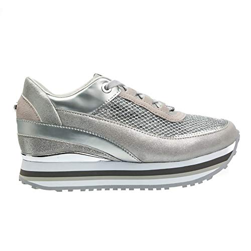 (Apepazza Shoes Woman Low Sneakers with Internal Wedge RSD27 / GLITTERNET Robin Argento Size 40 Silver )